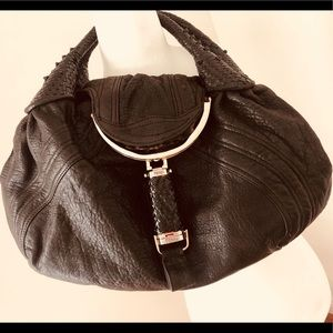 Authentic Fendi Black Leather Spy Bag